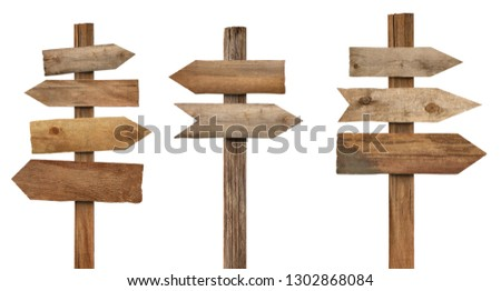 collection of various wooden sign on white background #1302868084