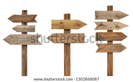 collection of various wooden sign on white background #1302868087