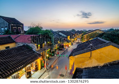 Hoi An, Vietnam: High view of Hoi An ancient town which is one of the most attractive destination for tourists. #1302876295