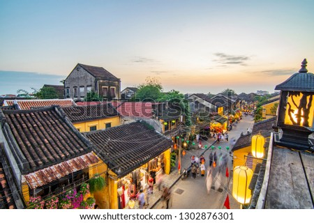 Hoi An, Vietnam: High view of Hoi An ancient town which is one of the most attractive destination for tourists. #1302876301