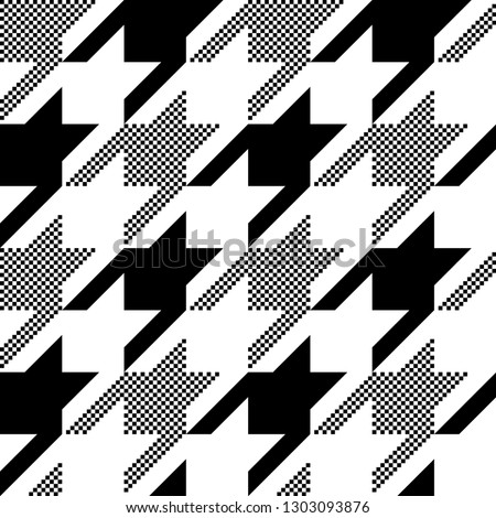 Houndstooth classic motif black and white template. Simple geometric pie de poul allover print block for apparel textile, garment, dress fabric, man scarf. Eighties fashion hatch design vector graphic