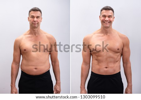 Portrait Of A Mature Man Before And After Weight Loss On White Background. Body shape was altered during retouching #1303099510
