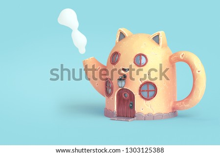 Yellow cartoon cat house in shape of teapot with round wooden windows.Teapot with steam from spout. Amazing fairy house with cat ears and a large antique wooden door. 3d rendering on blue background.