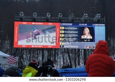 KILLINGTON, USA - NOVEMBER 25: A general view to Festival Village and people during the Audi FIS Alpine Ski World Cup Women's Giant Slalom on November 25, 2018 in Killington USA. #1303206298