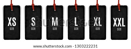 Collection of clothing size labels isolated on white, vector illustration
