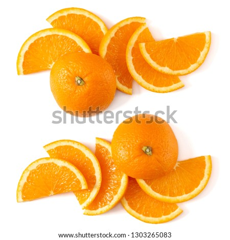 Orange fruit slice layout isolated on white background closeup. Food background. Flat lay, top view. #1303265083