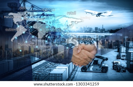 Business people shaking hands, success business of Logistics Industrial Container Cargo freight ship for Concept of fast or instant shipping, Online goods orders worldwide #1303341259