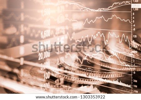 Stock market or forex trading graph and candlestick chart suitable for financial investment concept. Economy trends background for business idea and all art work design. Abstract finance background. #1303353922