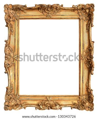 antique golden frame isolated on white background #130343726