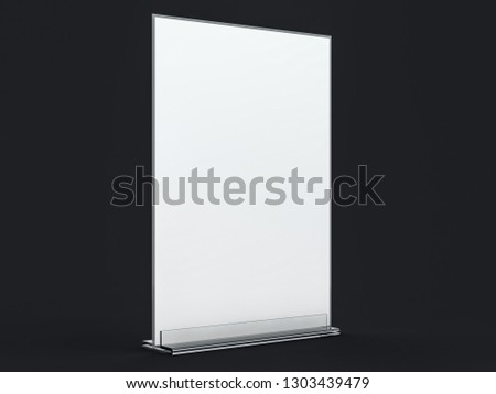 Stand for booklets with white sheets of paper. Mockup. 3D rendering #1303439479