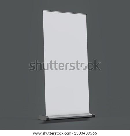 Blank rollup banner display. Template mockup. 3D rendering #1303439566