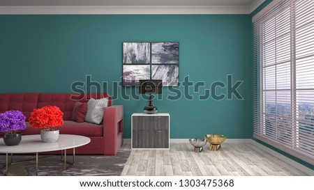 Interior of the living room. 3D illustration #1303475368