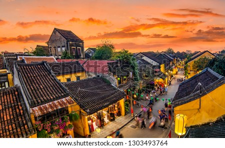 Hoi An, Vietnam: High view of Hoi An ancient town which is one of the most attractive destination for tourists. #1303493764