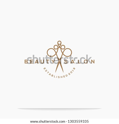 haircut salon logo with scissor vector illustration design.