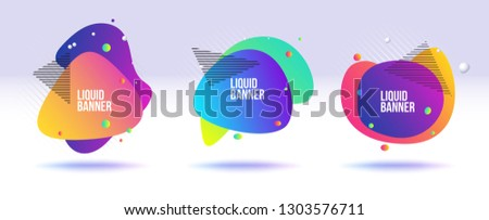 Liquid banner collection. Abstract fluid and liquid banner for replace text. #1303576711