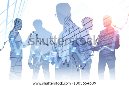 Silhouettes of managers discussing work over skyscraper background with double exposure of graphs. Concept of stock market. Toned image #1303654639