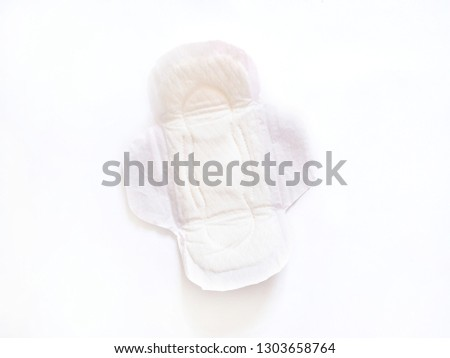 Sanitary napkins or Menstrual pads isolated on white background. Feminine hygiene and protection concept. #1303658764