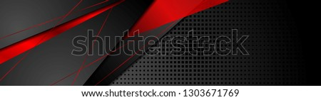 Red and black abstract corporate banner design. Vector technology background