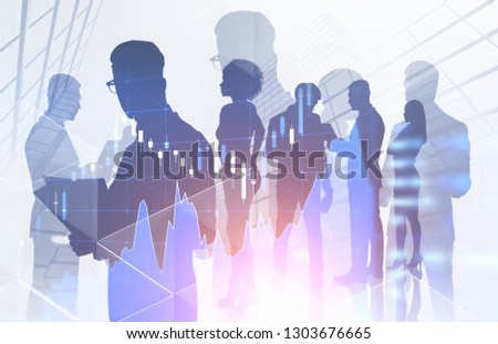 Silhouettes of brokers over skyscraper background with double exposure of Forex graph. Concept of stock market. Toned image #1303676665