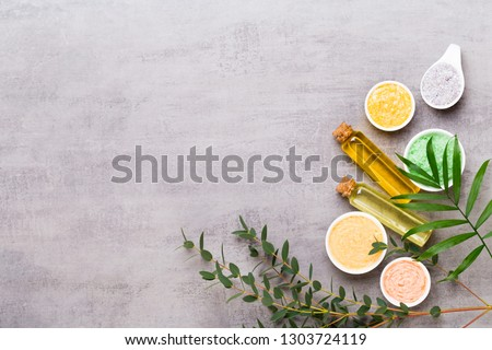 Spa cosmetic products concept, spa background with a space for a text, flat lay, view from above. Royalty-Free Stock Photo #1303724119