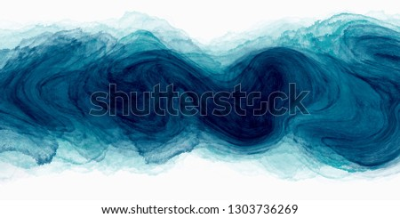 watercolour paint brush stroke in blue green color with liquid fluid texture isolated on white background. #1303736269