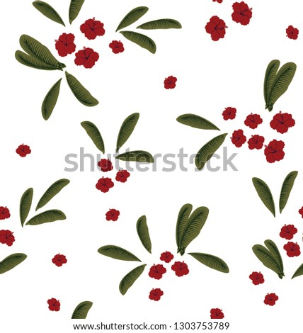 red small flowers with leaves pattern #1303753789
