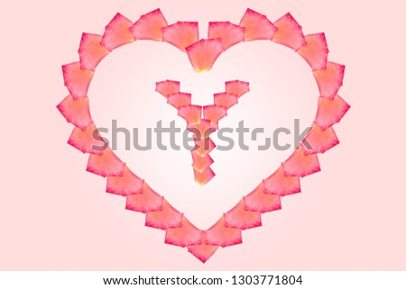 Love Rose petal letter Y Background image, Rose Petal letters/alphabet/characters constructed from rose petal on white background and light pink background #1303771804
