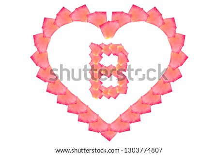 Love Rose petal letter B Background image, Rose Petal letters/alphabet/characters constructed from rose petal on white background and light pink background #1303774807