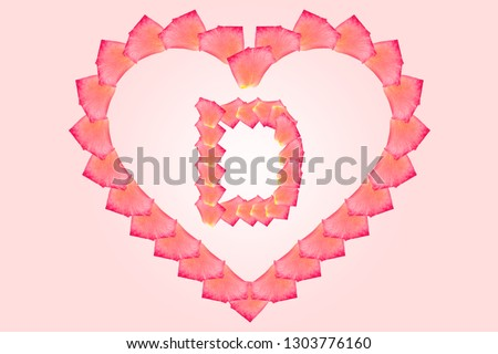 Love Rose petal letter D Background image, Rose Petal letters/alphabet/characters constructed from rose petal on white background and light pink background #1303776160