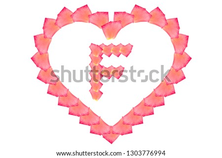 Love Rose petal letter F Background image, Rose Petal letters/alphabet/characters constructed from rose petal on white background and light pink background #1303776994
