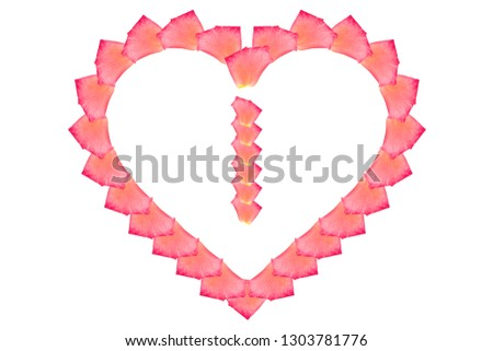 Love Rose petal letter I Background image, Rose Petal letters/alphabet/characters constructed from rose petal on white background and light pink background #1303781776