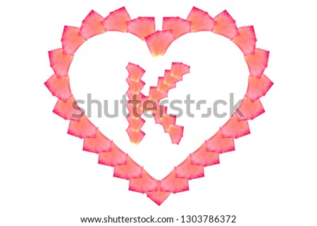 Love Rose petal letter K Background image, Rose Petal letters/alphabet/characters constructed from rose petal on white background and light pink background #1303786372