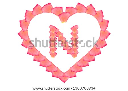 Love Rose petal letter N Background image, Rose Petal letters/alphabet/characters constructed from rose petal on white background and light pink background #1303788934