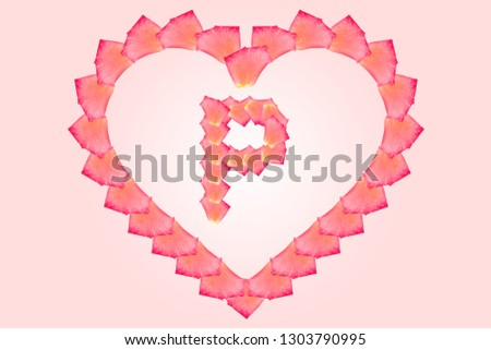 Love Rose petal letter P Background image, Rose Petal letters/alphabet/characters constructed from rose petal on white background and light pink background. Letter P into Love shape. #1303790995