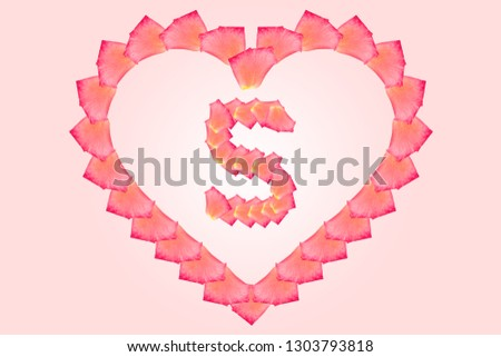 Love Rose petal letter S Background image, Rose Petal letters/alphabet/characters constructed from rose petal on white background and light pink background. Letter S into Love shape. #1303793818