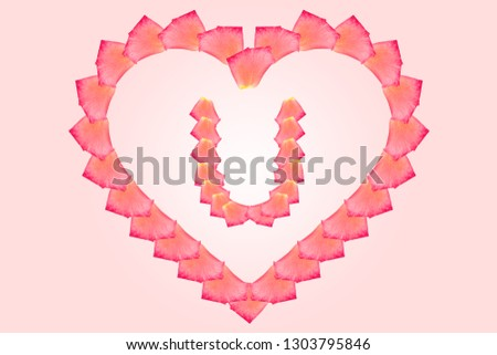Love Rose petal letter U Background image, Rose Petal letters/alphabet/characters constructed from rose petal on white background and light pink background. Letter U into Love shape. #1303795846