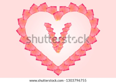 Love Rose petal letter V Background image, Rose Petal letters/alphabet/characters constructed from rose petal on white background and light pink background. Letter V into Love shape. #1303796755