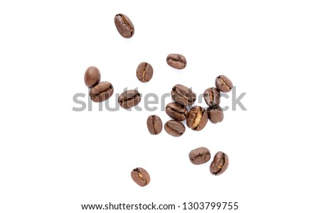 Coffee beans. Isolated on a white background. #1303799755