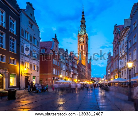 Gdansk, Poland - May 5, 2015: Old town of Gdansk at Motlawa river. Poland #1303812487