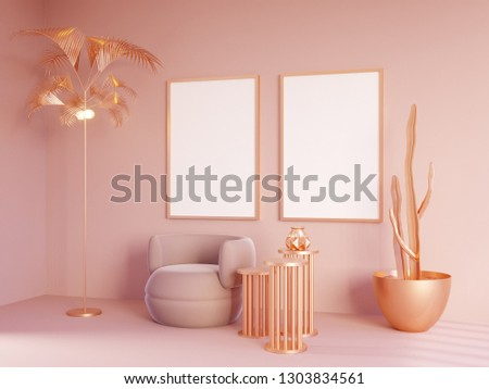 Mock up interior in pink and gold color, golden palm and cactus. 3d illustration #1303834561