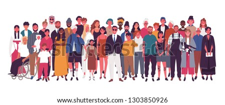 Diverse multiracial and multicultural group of people isolated on white background. Happy old and young men, women and children standing together. Social diversity. Flat cartoon vector illustration. Royalty-Free Stock Photo #1303850926