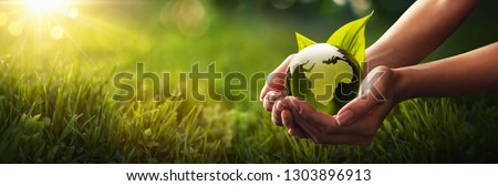 Green Planet in Your Hands. Save Earth. Environment Concept #1303896913