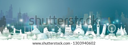 Travel Europe landmarks of world with skyscraper at night light, Traveling world with cityscape panorama, Popular capital with skyline, Origami paper cut style for postcard poster, Vector illustration #1303940602
