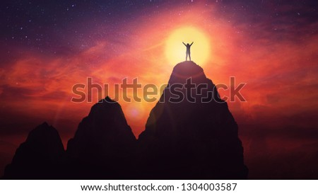 Self overcome concept as a woman climb tall mountains obstacles over the clouds for achieving success. Road to win with up and downs, and person raising hands up feel free over sunset sky background. #1304003587