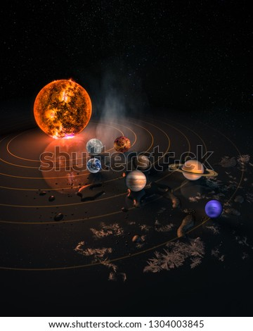 Solar system eight planets. Mercury, Venus, planet Earth, Mars, Jupiter, Saturn, Uranus, Neptune. Science and education background. Elements of this image furnished by NASA.