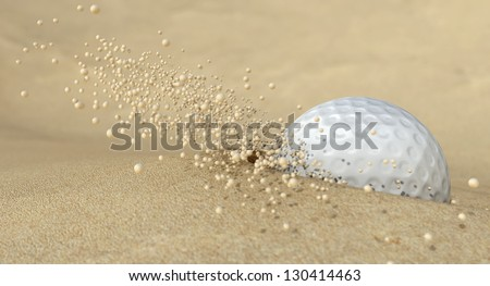 An extreme close up of a golf ball hitting the sand in a bunker and emitting grains of sand forwards #130414463