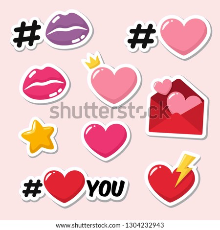 Set of vector love icon sticker. Sticker in the form of lips, #heart, hearts, love letters and text: I love you. Illustration of romantic stickers in flat minimalism style. #1304232943