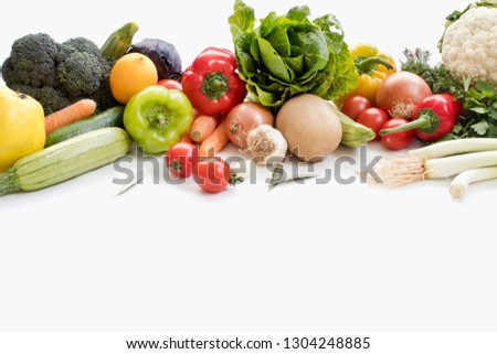 Fresh vegetables isolated on a white background. #1304248885
