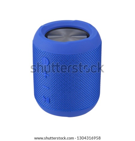 Portable Wireless Speaker Isolated on White. Side View of Blue Stereo Sound System with Splashproof Fabric Design. Cell Phone Accessories #1304316958