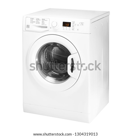 Washing Machine Isolated on White Background. Side View of White Front Load Washer with 8kg Wash Load and 1400rpm Spin Speed Energy Class A++. Domestic and Household Appliance. Home Innovation #1304319013